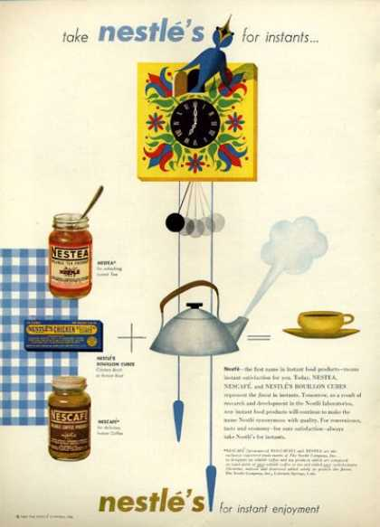 Nestle's Tea Nescafe Clock Art (1952)