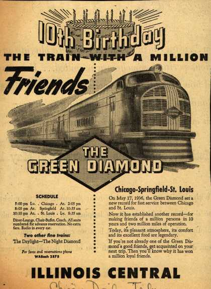Illinois Central Railroad's The Green Diamond – 10th Birthday The Train With A Million Friends (1946)