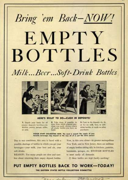 Eastern States Bottle Collection Committee's Bottles – Bring 'em Back – Now! Empty Bottles (1943)