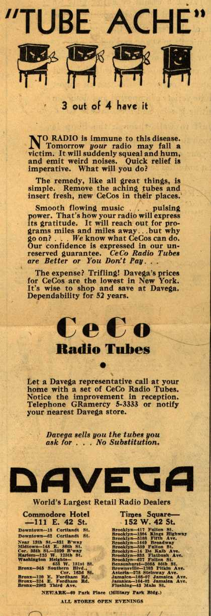 CeCo Manufacturing Company&#8217;s Radio Tubes &#8211; Tube Ache (1931)