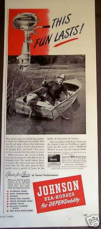 Johnson Sea-horse Outboard Motor Fishing Photo (1948)