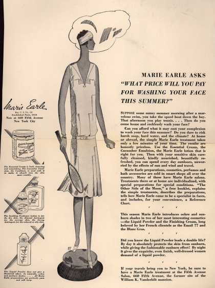 "Marie Earle's Various – Marie Earle Asks ""What Price Will You Pay For Washing Your Face This Summer?"" (1928)"