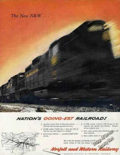 Locomotive Action Photo Norfolk & Western Rr (1960)