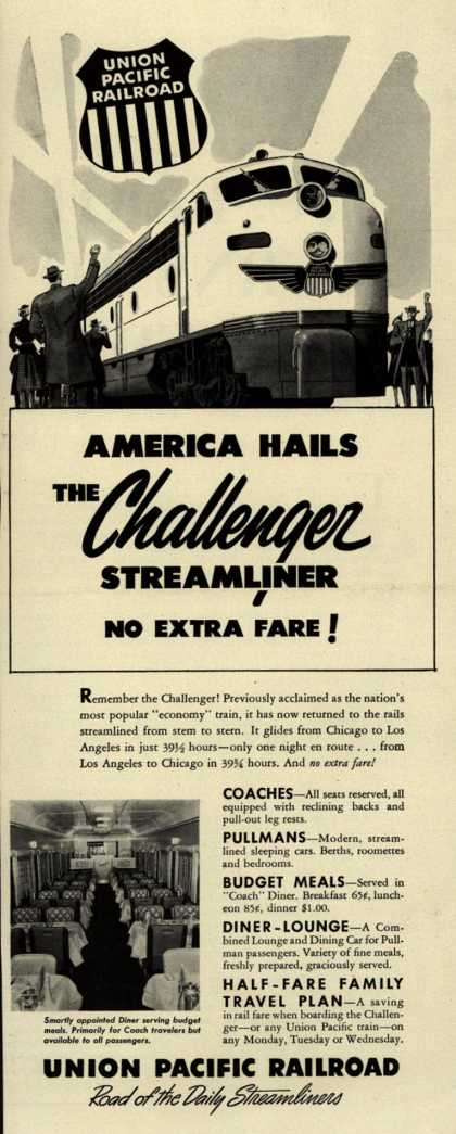 Union Pacific Railroad's The Challenger – America Hails The Challenger Streamliner No Extra Fare (1954)