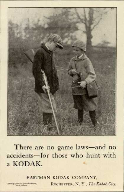 Kodak – There are no game laws – and no accidents – for those who hunt with a Kodak (1916)