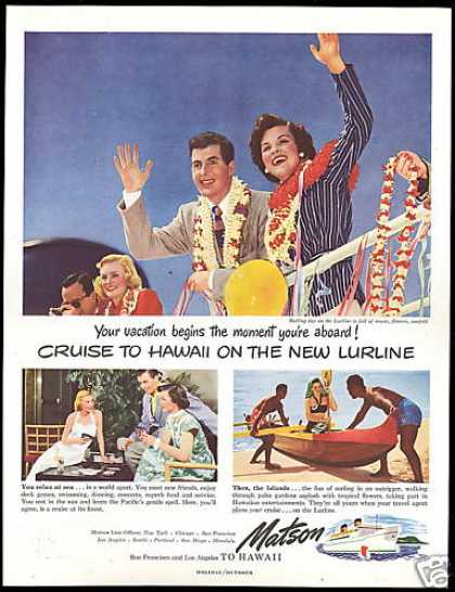 Matson Line Cruise Ship Lurline Hawaii (1949)