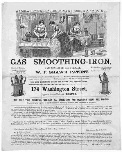 W. F. Shaw's patent gas cooking & ironing apparatus. Gas smoothing-iron and miniature gas furnace. W. F. Shaw's patent ... 174 Washington Street Bosto (1858)