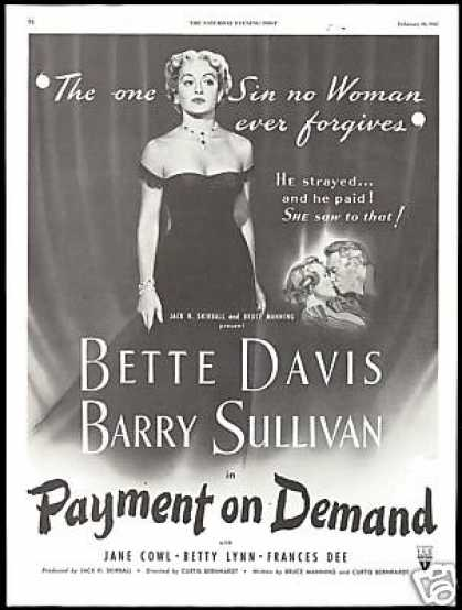 Bette Davis Payment on Demand Movie Promo (1951)