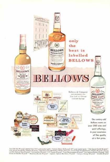 Bellows Whisky Gin Scotch Bottles (1950)