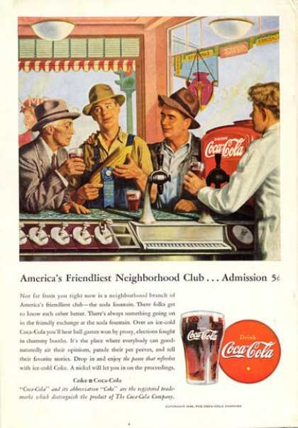 Coke Coca Cola Farmers at Town Fountain (1946)