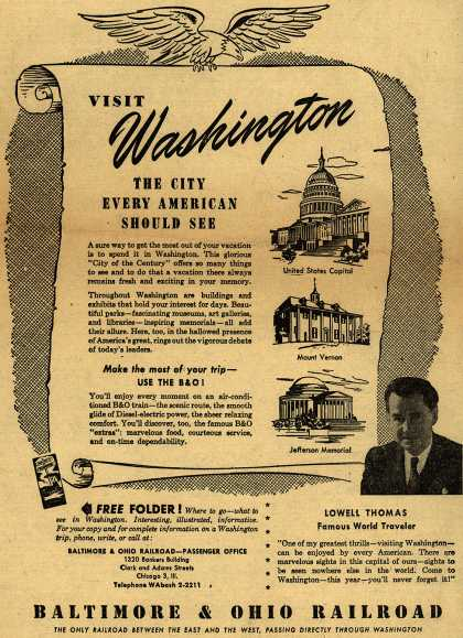 Baltimore & Ohio Railroad's Washington – VISIT Washington THE CITY EVERY AMERICAN SHOULD SEE (1951)