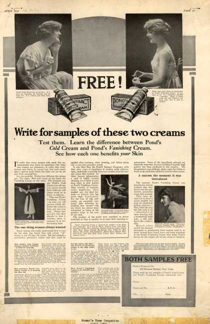 Pond's Extract Co.'s Pond's Cold Cream and Vanishing Cream – Free (1916)
