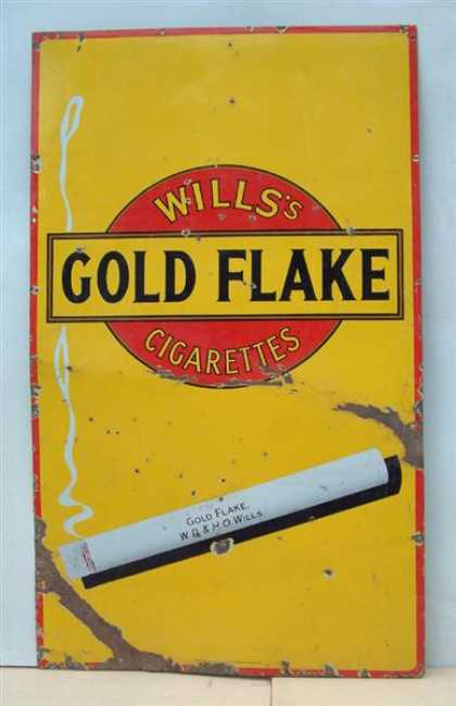 Wills X Large Gold Flake Cigarettes Sign