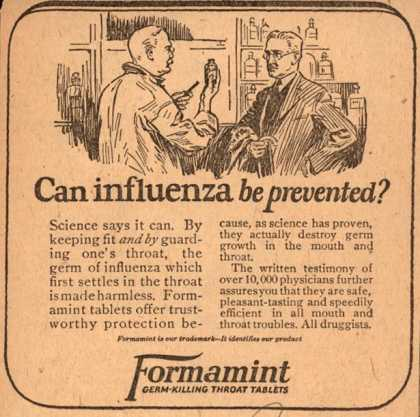 Unknown's Formamint – Can influenza be prevented? (1923)