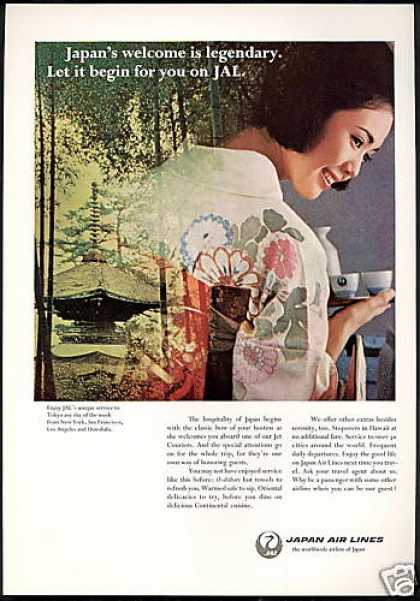 JAL Japan Airlines Pretty Hostess Photo (1968)