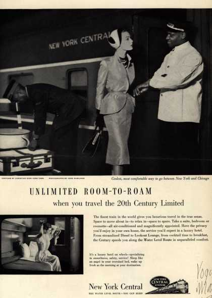 New York Central System's 20th Century Limited – Unlimited Room-To-Room when you travel the 20th Century Limited (1951)