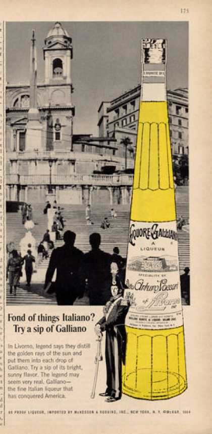 Galliano Italian Liqueur Livorno Bottle (1964)