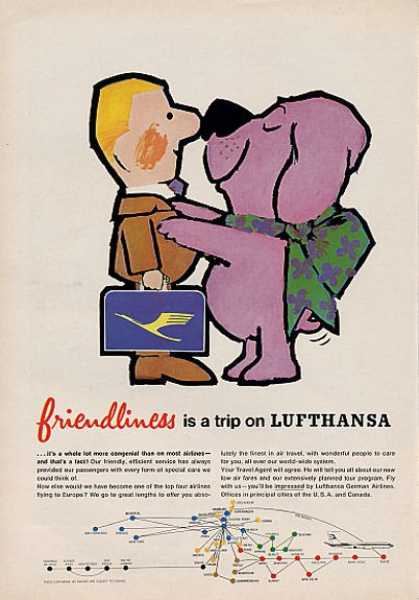 Lufthansa Airline Friendliness Cute (1964)