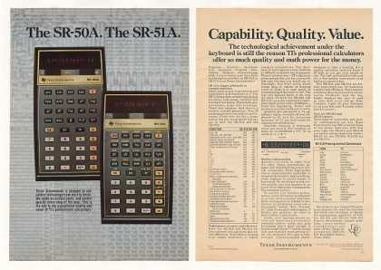 '75 Texas Instruments TI SR-50A SR-51A Calculator 2P (1975)