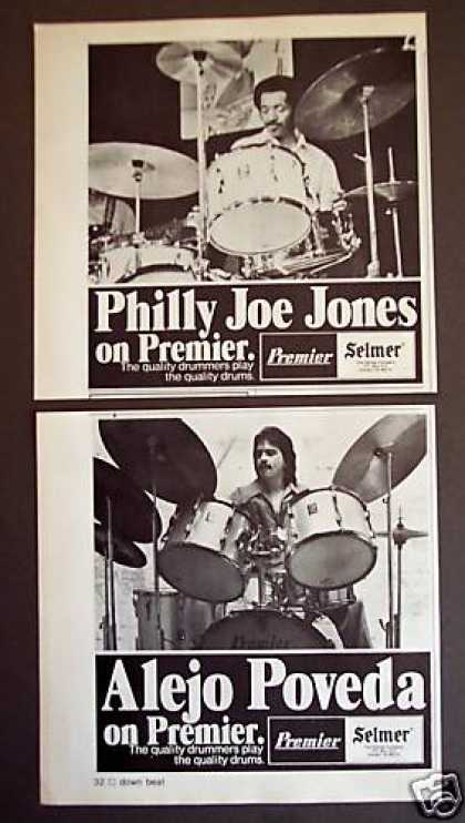 Philly Joe Jones Alejo Poveda Premier Drums 2 Ads (1977)