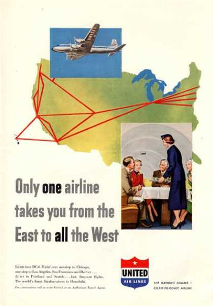 United Airlines East To West Dc-6 (1952)