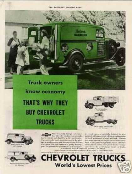 Chevrolet Truck Color Ad Helms Bakeries (1935)