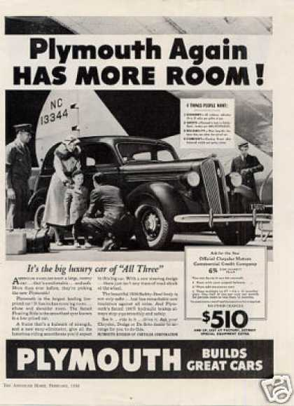 "Plymouth Car Ad ""Plymouth Again Has More... (1936)"