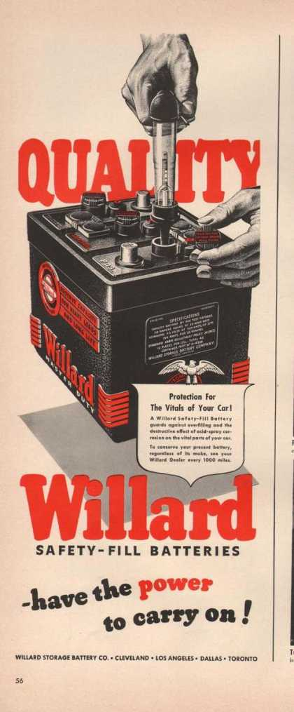 Quality Willard Safety Fill Batteries (1942)