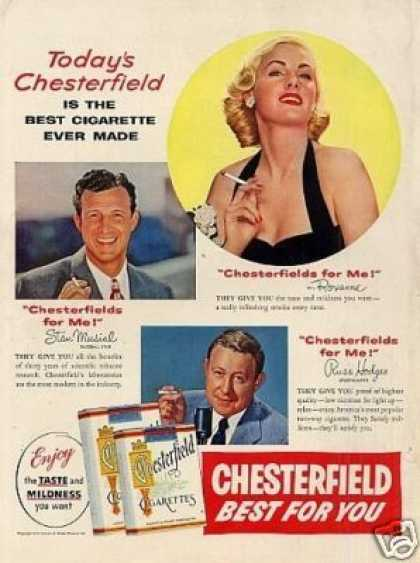 Chesterfield Cigarettes Ad Stan Musial, Roxanne... (1954)