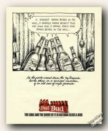 Budweiser Beer Hundred Human Beings On Wall (1990)
