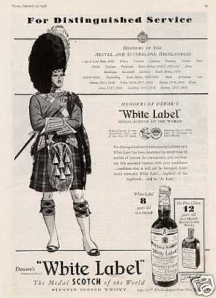 Dewar's White Label Scotch Whisky (1938)