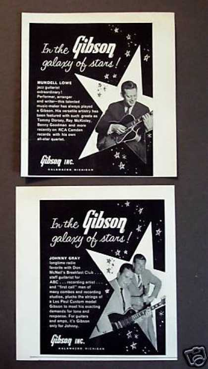Mundell Lowe Johnny Gray 2 Gibson Guitar Print Ads (1960)