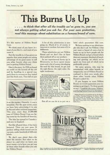 Niblets Fresh Corn Off the Cob In a Can Pr (1938)