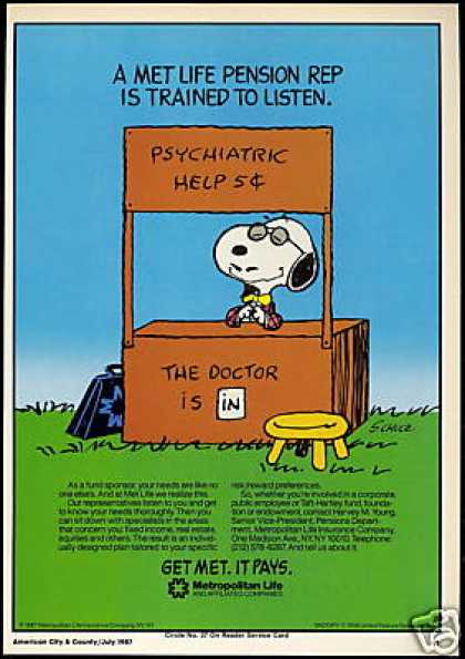 Snoopy Charles Schultz Art Met Insurance (1987)