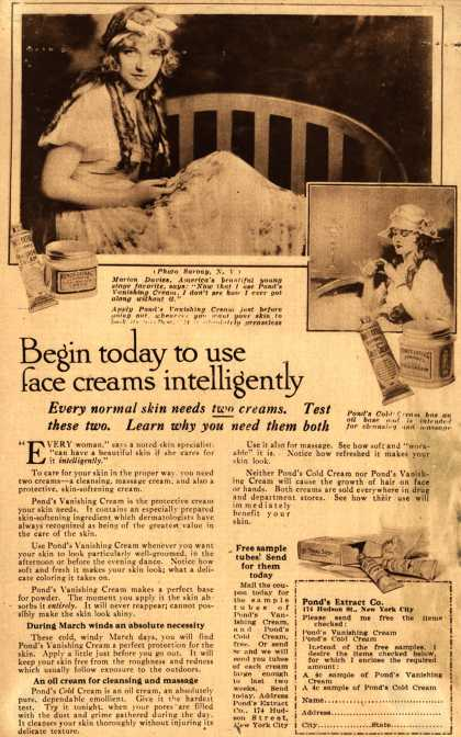 Pond's Extract Co.'s Pond's Cold Cream and Vanishing Cream – Begin today to use face creams intelligently (1917)