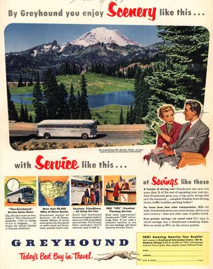 Greyhound – By Greyhound you enjoy Scenery like this...with Service like this... (1952)