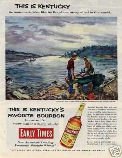 Early Times Whiskey Ad Earl Gross Art (1953)