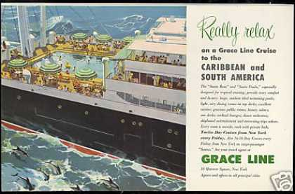 Grace Line Cruise Ship Really Relax Art (1953)