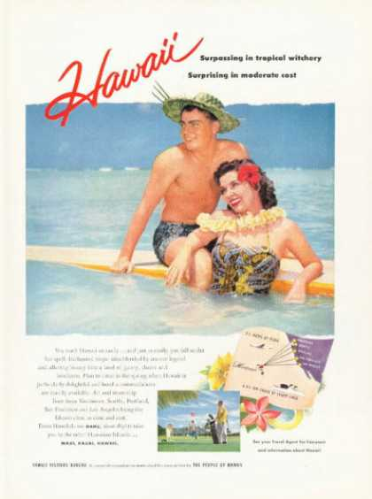 Hawaii Travel Photo Ad Wood Surfboard (1955)