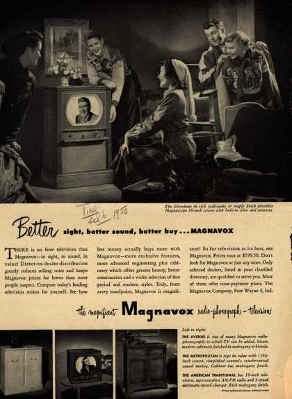 Magnavox Company's various – Better sight, better sound, better buy... Magnavox (1950)