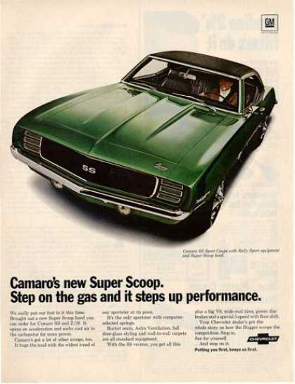 Chevrolet Ss Camaro Rally Sport Coupe Car Ad T (1969)