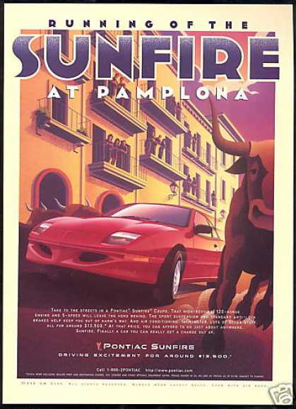 Pontiac Sunfire Car Spain Pamplona Bull Art (1997)
