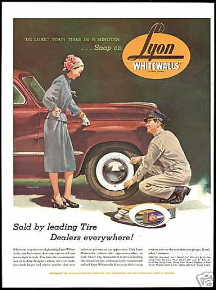 Lyon Snap On Car Tire Whitewalls James Crabb (1947)
