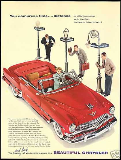 Red Chrysler Convertible Car Photo Vintage (1954)