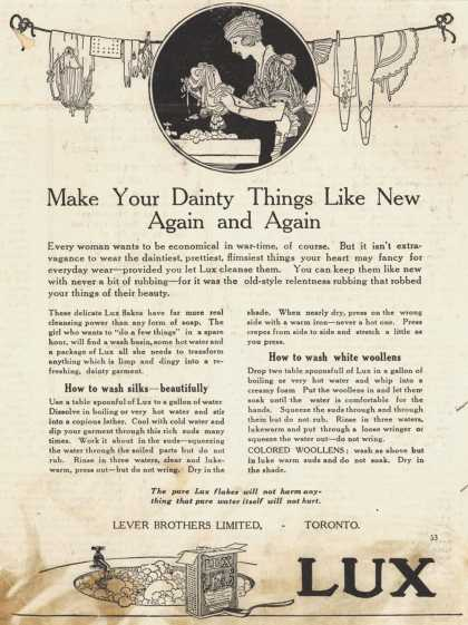 Lever Bros.'s Lux (laundry flakes) – Make Your Dainty Things Like New Again and Again (1918)