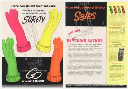Surety Rubber Bright Color Household Gloves 2-P (1963)