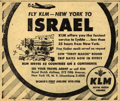 KLM Royal Dutch Airline's Israel – Fly KLM-New York to Israel (1950)