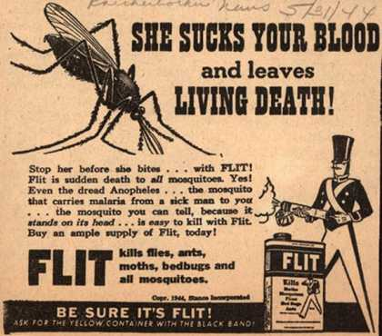 Stanco Incorporated's Flit – She Sucks Your Blood and Leaves Living Death (1944)
