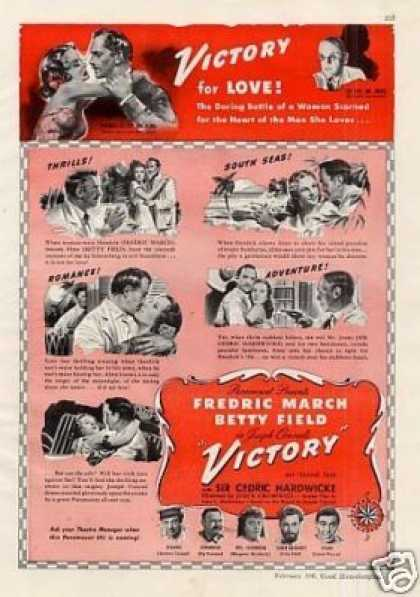 "Movie Ad ""Victory"" Fredric March/betty Field (1941)"