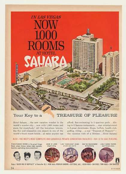 Hotel Sahara Las Vegas Now 1,000 Rooms (1963)